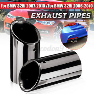 2 X L r Black Exhaust Tail Tip Pipes Titanium For Bmw E90 E92 325 328i 3 Series