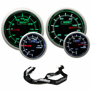 Prosport 52mm Universal Green White Gauges Boost Turbo Oil Pressure