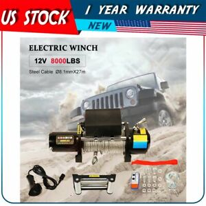 For 2018 2020 Jeep Utility 12v 8000lb Electric Winch Tow Towing Steel Cable