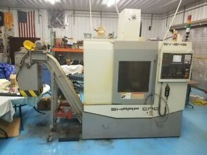 Used Sharp Sv 2412 Cnc Vertical Mill 2007 Fanuc 24 12 18 8000 Rpm 16 Tools Chip