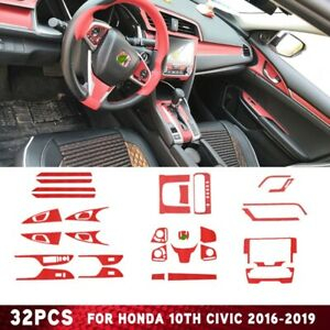 32pcs Sticker Fit For Honda 10th Civic 2016 2019 Red Interior Accessories