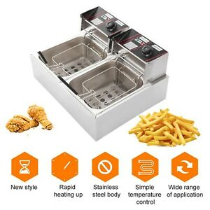 12l Electric Deep Fryer Dual Tank Fry Basket Commercial Household Frying Tools