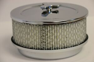 6 3 8 X 3 7 8 Chrome 4 Bbl Round Air Cleaner Domed Top Chevy Sbc 350 Bbc 454