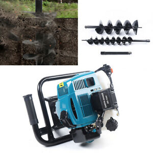 52cc Post Hole Digger Gas Powered Earth Auger Borer Fence Ground 2x Drill Bits