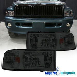 For 1994 2001 Dodge Ram 1500 2500 3500 1pc Projector Headlights Smoke Lamps