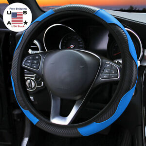 15 In Blue Car Steering Wheel Cover Leather Breathable Anti Slip Car Accessories