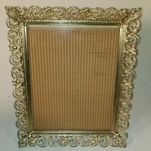 Vintage Mid Century Filigree Floral Gold Tin Metal Photo Picture Frame 8 X 10