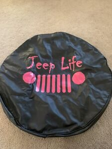 Black And Pink Jeep Life Spare Tire Cover For 35 Tire