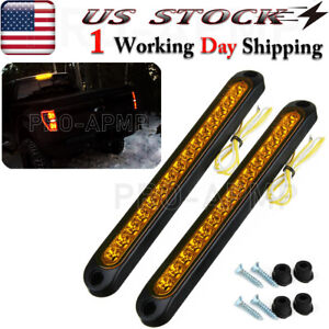 2x Amber Led Strip Turn Signal Lights Truck Trailer Sealed Rear Tail Light Bar