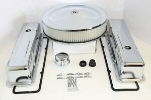 Sb Chevy Chrome Engine Dress Up Kit Tall Valve Covers Air Cleaner 58 79 Sbc 350