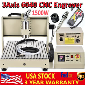 3axis 6040 Cnc Desktop Router Milling Engraving Cuting Machine Kit 1 5kw Vfd rc
