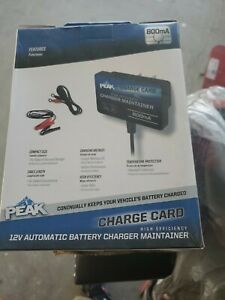 Peak 12v Automatic Battery Charger Maintainer Charge Card Compact Portable Size