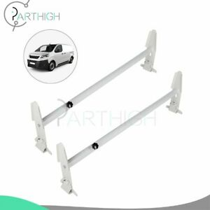 Durable White Roof Ladder Rack Van 2 Bars For Chevy Dodge Ford Gmc Express 500lb