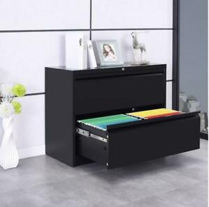 Home Office Lateral Heavy Duty Metal Storage Filing Cabinet W 2 Drawers Locking
