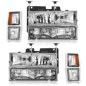 2x Driver Passenger Side Headlight Headlamp Assembly For Chevy W Chrome Housing