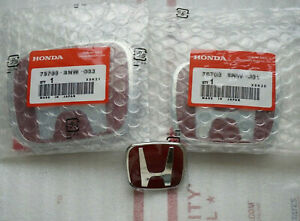 3pcs Red Chrome Steering Front Rear Badge Emblem Fit For Civic Coupe 2016 2019