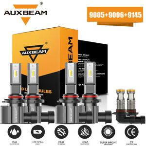 Auxbeam 9005 9006 9145 Led Headlights fog Bulbs For Jeep Grand Cherokee 2005 10