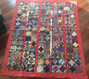 Vintage Or Antique Quilt From 18th Century Nj Farmhouse 6 Fabric Sampler