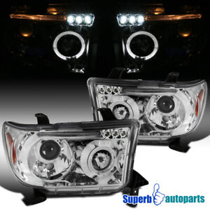 For 2007 2013 Toyota Tundra 08 17 Sequoia Halo Projector Headlights Led Bar Lamp