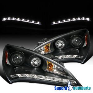 For 2010 2012 Hyundai 10 12 Genesis Projector Headlights Black Audi R8 Led Strip