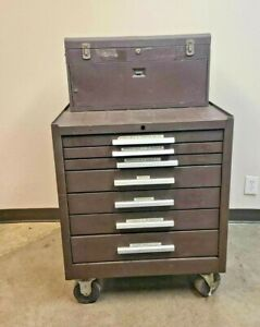 Kennedy 7 Drawer Brown Cabinet Rolling Tool Box Chest Cabinet Workstation Nice