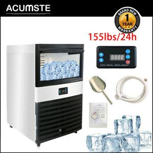 155lb 24h 70kg Commercial Ice Maker Stainless Clear Cube Machine Undercounter Us