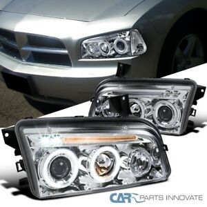 For Dodge 06 10 Charger Clear Lens Led Halo Projector Headlights Head Lamps Pair