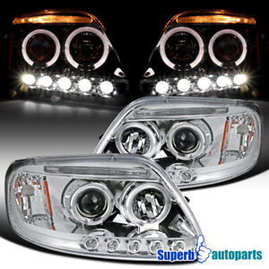 For 1997 2003 Ford F150 Expedition Led Halo Projector Headlights Pair