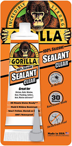 Gorilla 100 Percent Silicone Sealant Caulk 2 8 Ounce Squeeze Tube Clear Pack