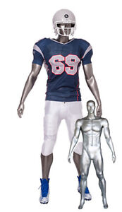 6 Ft 4 In Abstract Face Football Body Muscular Male Mannequin Matte Silver Sfb2s