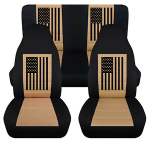 Fits Jeep Wrangler 1987 2006 Front And Rear Seat Covers With American Flag Desig