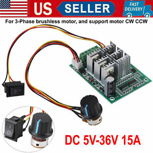 Dc5v 36v 3 phase Brushless Motor Speed Controller Cw Ccw Reversible Switch