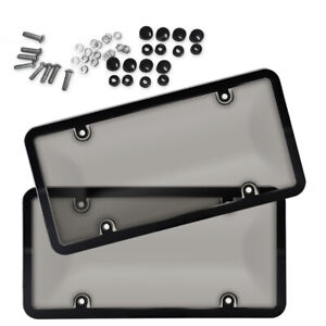 2 X Unbreakable Tinted Smoked License Plate Tag Shield Cover And Frame