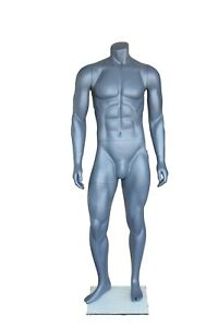 5 Ft 4 In H Athletic Headless Male Mannequin Muscular Body Matte Grey Stb1mh New
