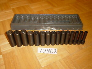 Snap on Tools 15 Piece 1 2 Drive Deep Metric Impact Socket Set 315simmya
