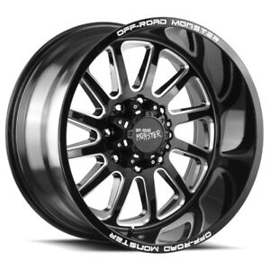 4 offroad Monster M17 20x10 5x5 5 19mm Black milled Wheels Rims 20 Inch