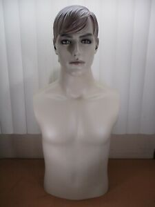 Vintage Male Blonde Hair Mannequin Torso Head Great For Military Uniforms