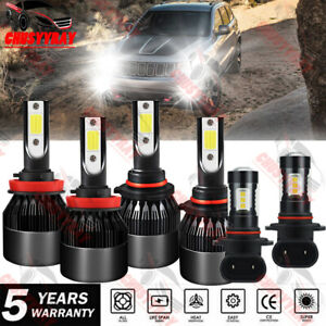 For Jeep Grand Cherokee 1999 2010 6x 6000k Led Headlight Kits Fog Bulbs Kit
