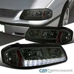 For 00 05 Chevy Impala Ls Base Smoke Led Strip Headlights Tinted Lamp Left Right