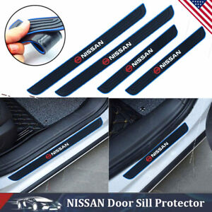 4pcs Black Rubber Car Door Sill Scuff Cover Panel Step Protector For Nissan