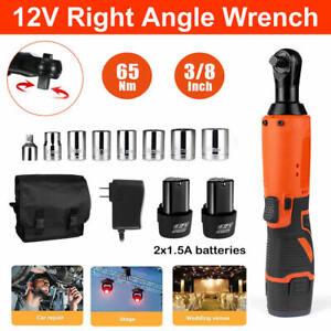 3 8 Cordless Electric Ratchet Right Angle Wrench Impact Power Tool 2 Battery