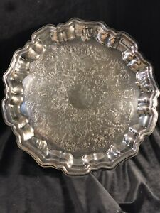 Vintage Leonard Round Silver Plate Serving Tray Footed 14 Diameter