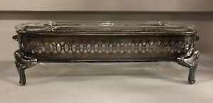 Vintage Silver Plate Casserole Side Dish Serving Tray 2 Piece Set Footed