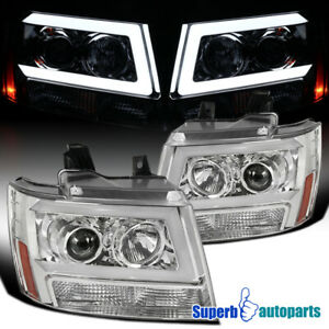 For 2007 2013 Chevy Avalanche Tahoe Suburban Projector Headlights Led Strip Lamp