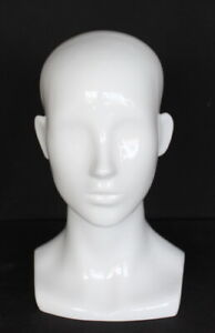 13 In H Female Head Mannequin Bust Form Display Mannequin Glossy White Mh53 gw
