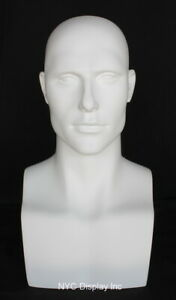 New 19 In H Matt White Male Mannequin Head Bust Form Display Mannequin Head Mh9w
