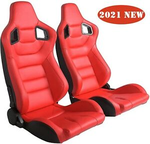 Universal Racing Seats Pair Of Pvc Leather Racing Bucket Seats W Dual Sliders