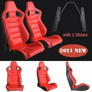 Universal Set Of 2 Racing Seats Pair Red Leather Reclinable Bucket Sport Seats