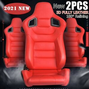 Racing Seats Universal Red Leather Race Seats W Red Stitching Slider Set Of 2