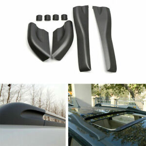 For Hyundai Tucson 2004 2008 Black Roof Rails Rack End Cover Shell Replace 4pcs